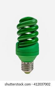 green light bulb on white Background