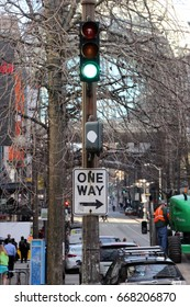 Green light, One way sign