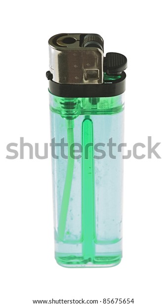 green lighter isolated on a white background