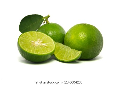 Green lime isolated on white background.