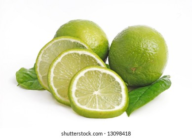 green lime with leaves