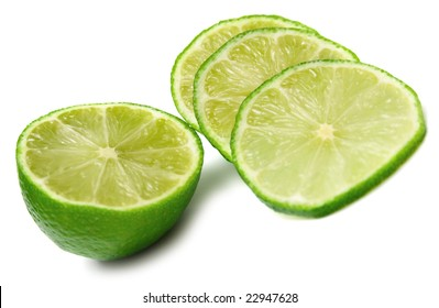 Green lime on white background. Shallow DOF