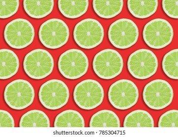 Green lime slices section design pattern.