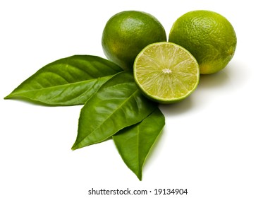 Green limes isolated on white