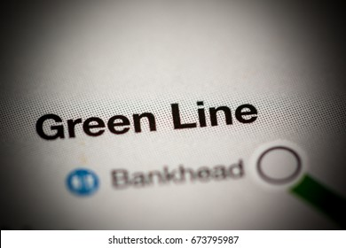 Green Line Station. Atlanta Metro map.