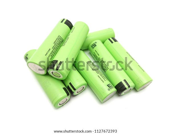 Green Lithiumion Battery Size 18650 Isolated Stock Photo