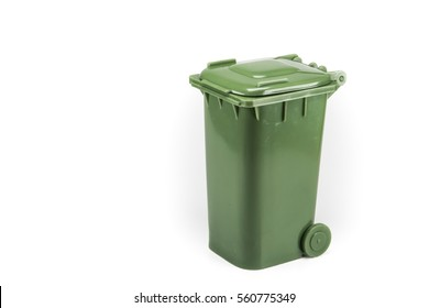Green Litter, wet waste bin Isolated on white background