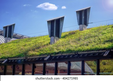 Green 'Living' Roof On Public City Library. Eco Friendly Building