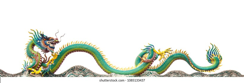 Green long chiness dragon clip art isolated white background