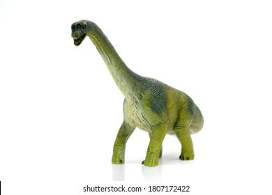 A green long necked dinosaur on a white background,Collectible toys,figurine of Tyrannosaurus