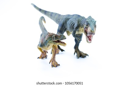 Green Long Running T Rex fighting against Allosaurus - Realistic Dinosaur Replica toy - front view