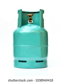Green LPG cooking gas cylinder or propane tank, isolated on white background