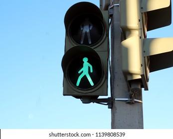 green man at a traffic light