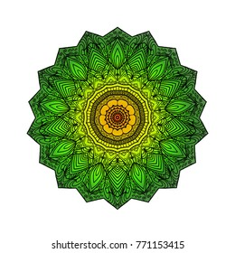 green mandala flower