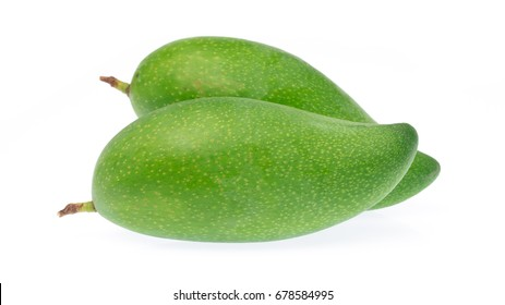 green mango isolated on a white background.
