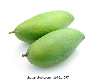 Green mangoes isolated on a white background