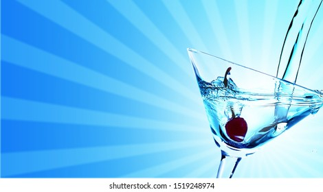 Green Martini cocktail in glass on blurred background