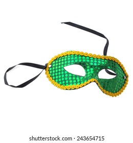 green mask for  carnival on  white background