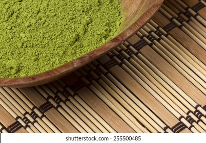 Green matcha in a bowl