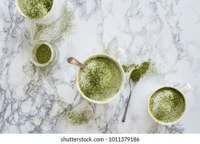 Green Matcha Latte on Marble Table