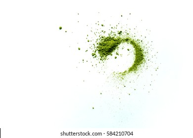 green matcha powder isolated on white background top view