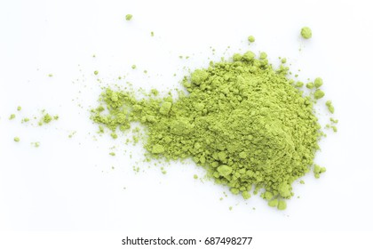 green matcha powder isolated on white background