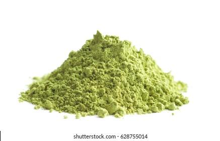 Green matcha tea powder isolated on white background.
