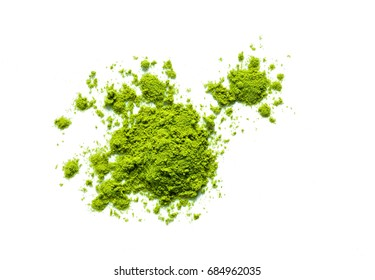 green matcha tea powder isolated on white background