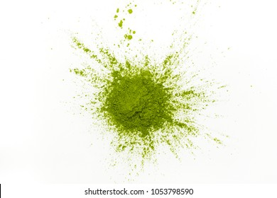 Green matcha tea powder on white background. Copy space