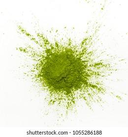 Green matcha tea powder on white background. Copy space