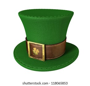 A green material leprechaun hat with a brown leather band emblazoned with a gold shamrock and buckle on an isolated background