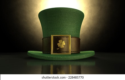 A green material leprechaun hat with a brown leather band emblazoned with a gold shamrock and buckle on a dark spotlit background