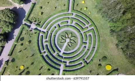Green maze in a garden, aerial view