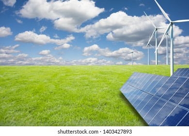 Green meadow and alternative energy resources in the right side