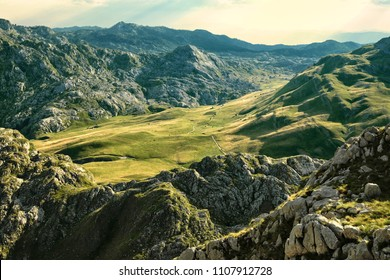 green meadow between the mountains of Montenegro