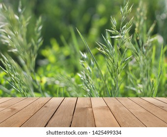 Green meadow, ears of grass, grass on the background of a wooden table. Fresh summer background
