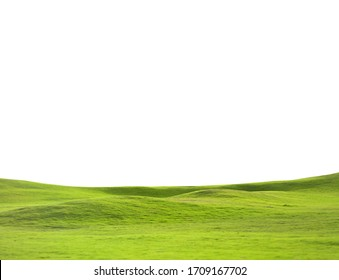 Green meadow isolated over white background
