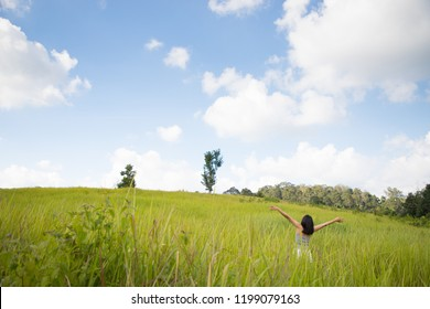 Green meadow and mountains, Khao Yai national park, Thailand