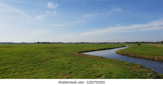 green meadows with ditch with water in the polder at Oude Ade in The Netherlands.