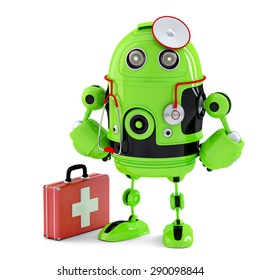 Green Medic Robot. Technology concept. Isolated over white. Contains clipping path