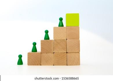 green meeple on wood block step stair. green block on top.