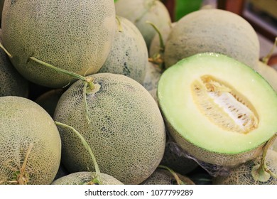 Green melon or Cantaloupe melons for sell in the market