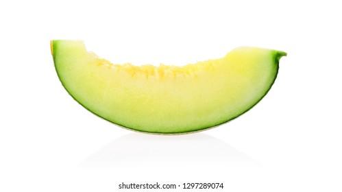 Green melon on white background.