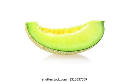 Green melon on white background.