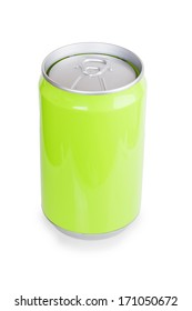green metal aluminum beverage drink can isolated on white background