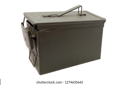 Green metal ammo box on white background