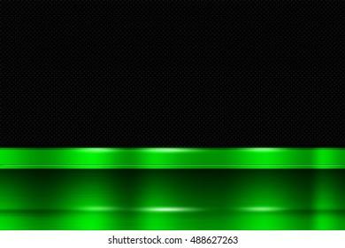 green metal banner on black carbon fiber. metal background. 3d illustration.