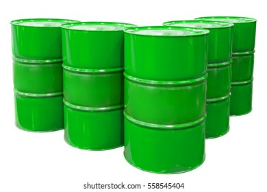 Green Metal barrels isolated on white background with clipping path