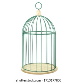Green metal birdcage for decoration garden decor