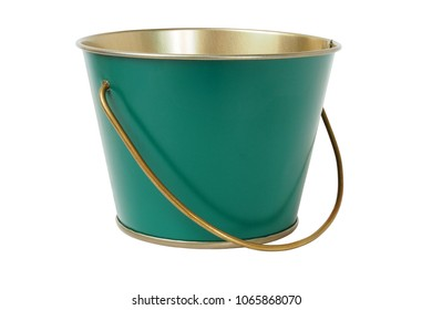 Green metal bucket isolated on white background